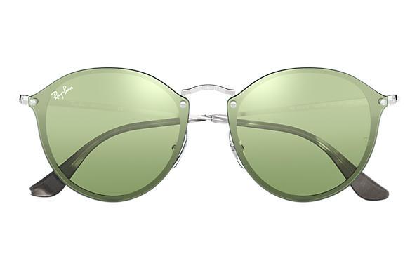 Ray-Ban BLAZE ROUND Silver with Dark Green/Silver Mirror lens