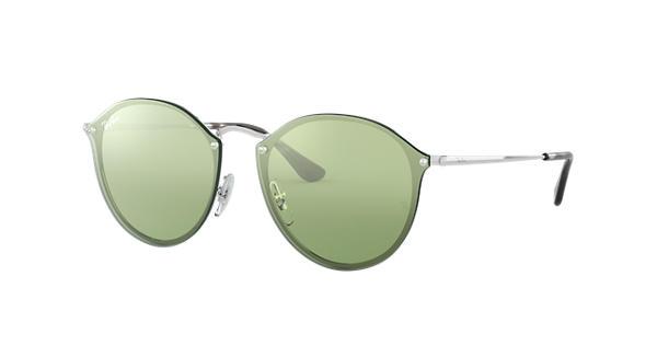 67a40914e8 Ray-Ban Blaze Round RB3574N Silver - Metal - Dark Green Silver Lenses -  0RB3574N003 3059