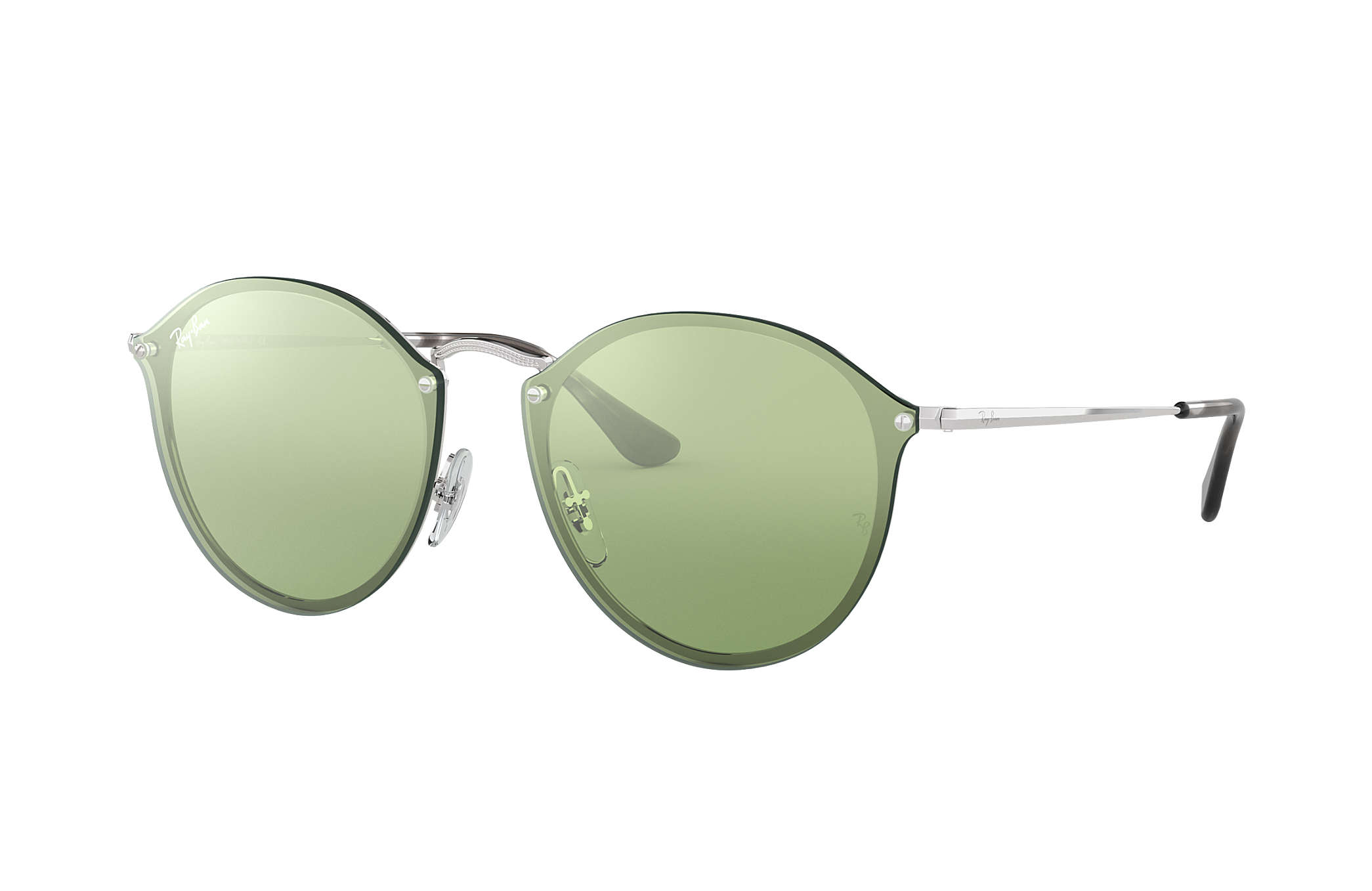 183c9e9a5c08f Ray-Ban Blaze Round RB3574N Silver - Metal - Dark Green Silver ...