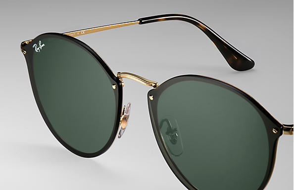 Ray-Ban Blaze Round RB3574N Gold - Metal - Green Lenses ... b52d535dce