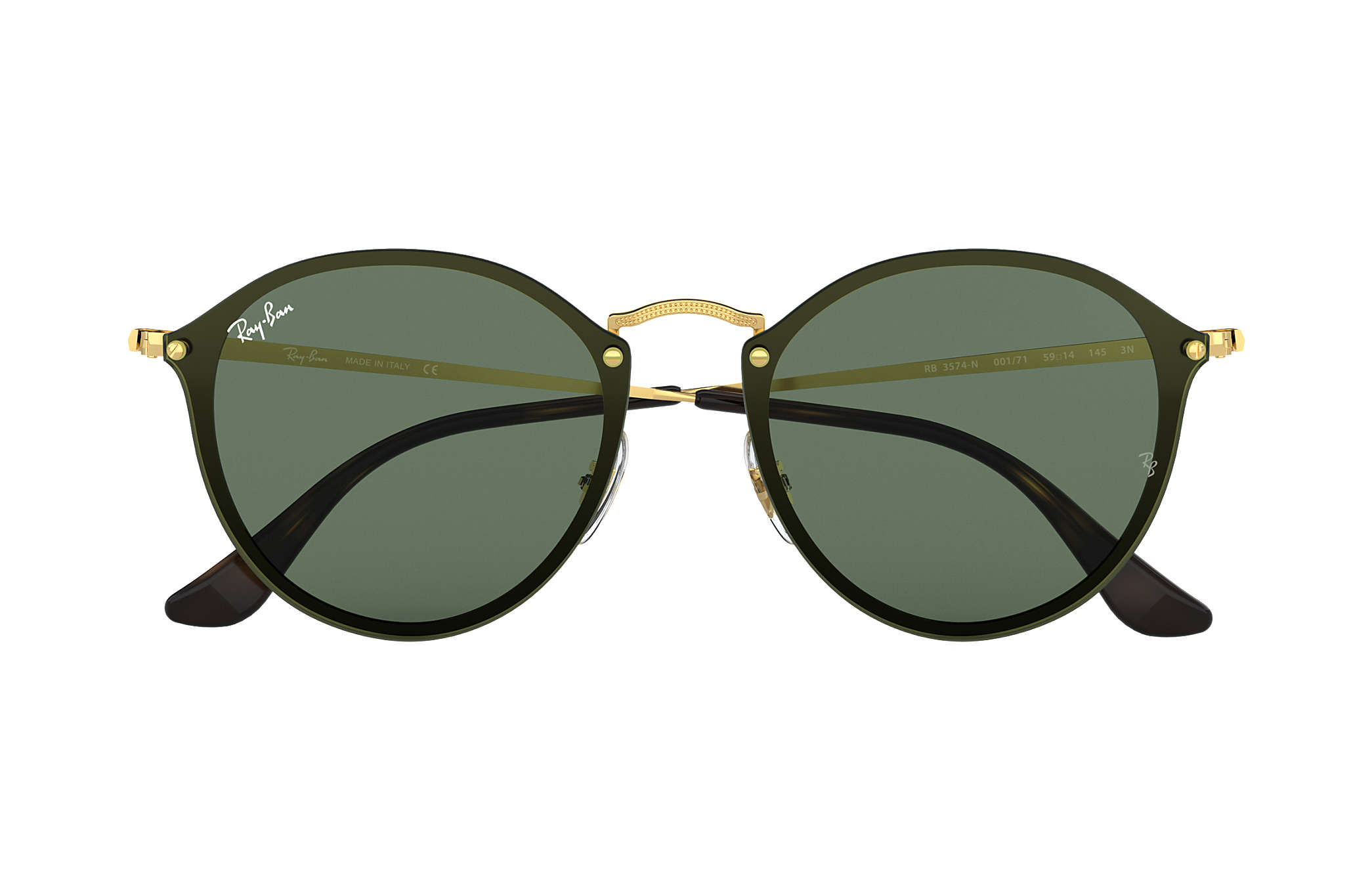 6a66555a6 Ray-Ban Blaze Round RB3574N Gold - Metal - Green Lenses ...