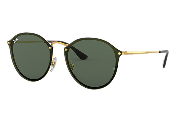 be5b0ec561 Ray-Ban Blaze Round RB3574N Gold - Metal - Green Lenses ...