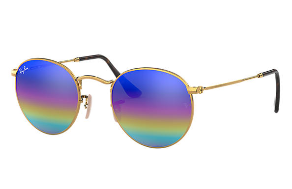 b561124e8744 Ray-Ban Round Mineral Flash Lenses RB3447 Gold - Metal - Blue ...