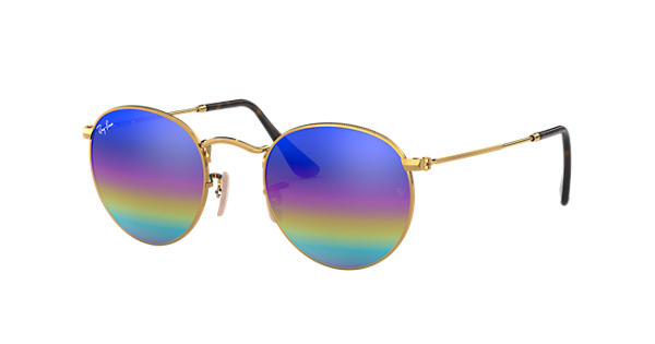569cff871fbf Ray-Ban Round Mineral Flash Lenses RB3447 Gold - Metal - Blue Rainbow Lenses  - 0RB3447001 C253
