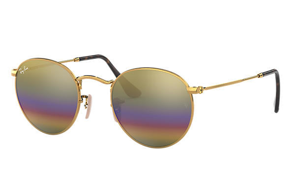 Ray-Ban 0RB3447-ROUND MINERAL FLASH LENSES Oro SUN