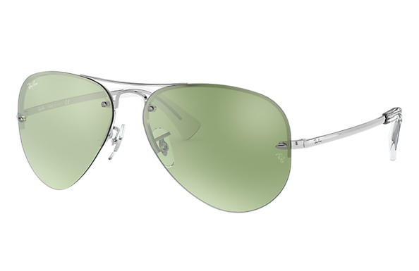 Ray-Ban Sunglasses RB3449 Silver with Dark Green/Silver Mirror lens