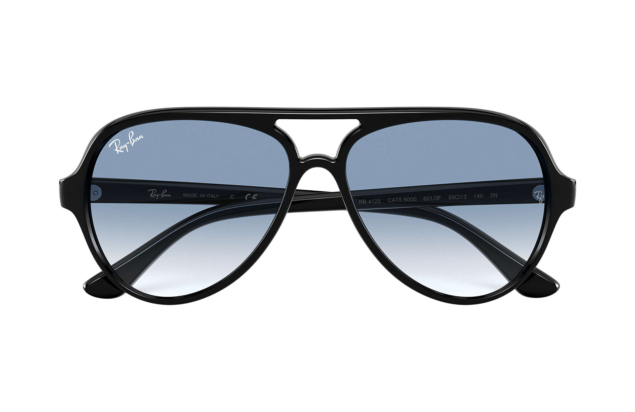 8233705f9826f6 Ray-Ban Cats 5000 Classic RB4125 Black - Injected - Light Blue ...