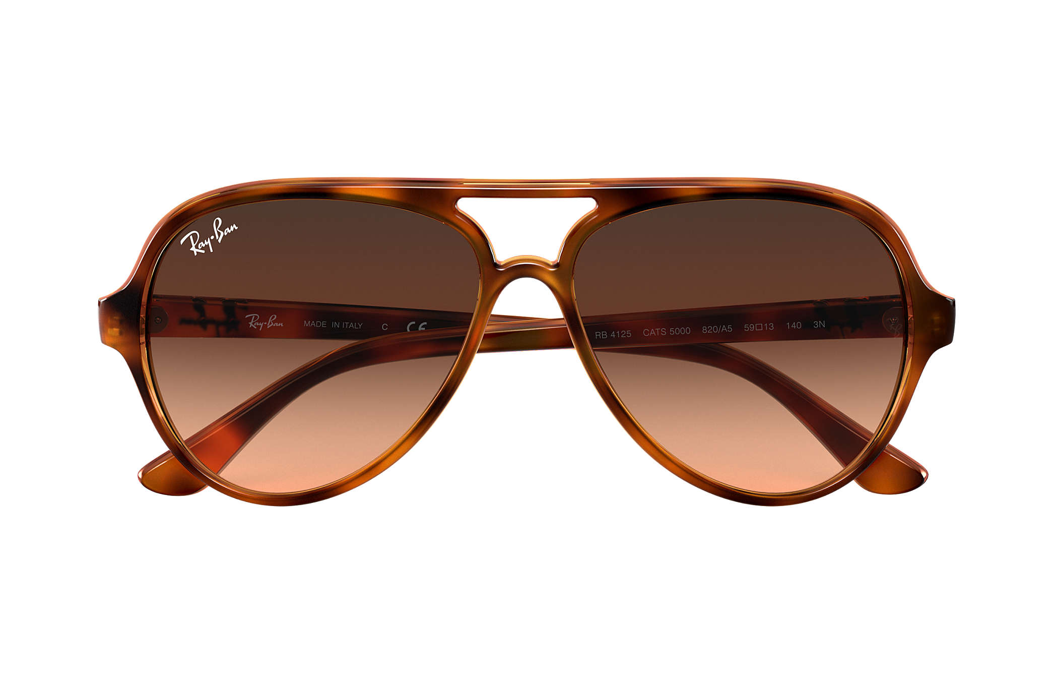 f615f961c9e06 Ray-Ban Cats 5000 Classic RB4125 Tortoise - Injected - Pink Brown ...