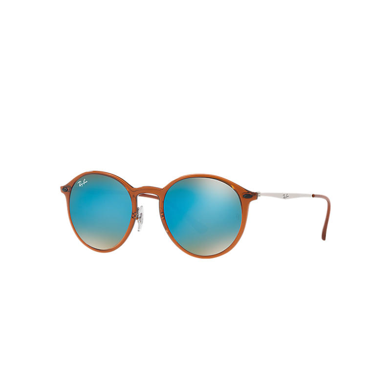 Ray-Ban Round Light Ray Silver Sunglasses, Blue Lenses - Rb4224 8053672789768