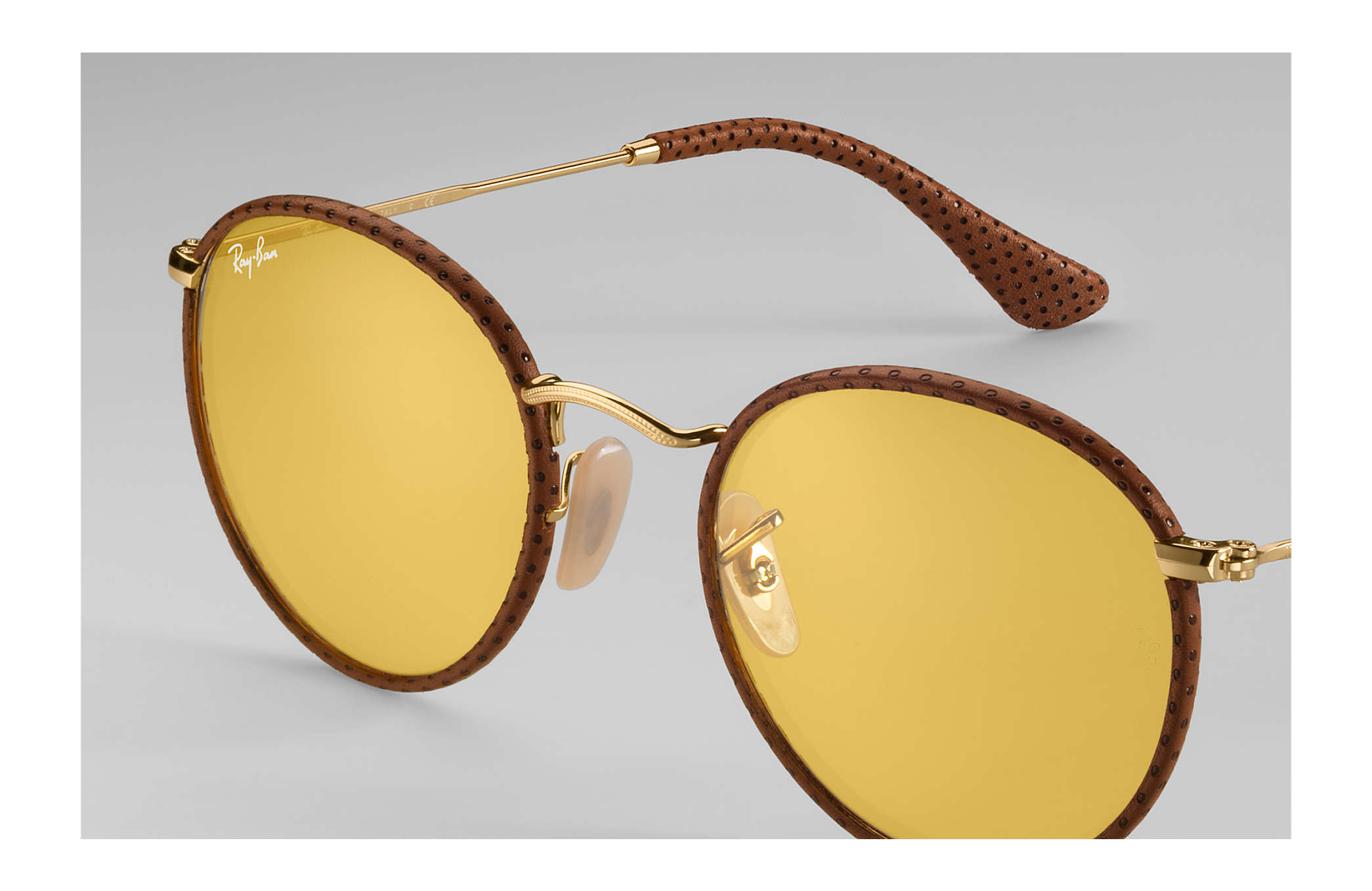 9e1dbc34faa Ray-Ban Round Craft RB3475Q Brown - Metal - Yellow Lenses ...