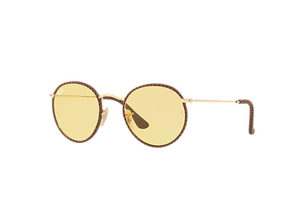 Ray-Ban 0RB3475Q-ROUND CRAFT Brown; Gold SUN