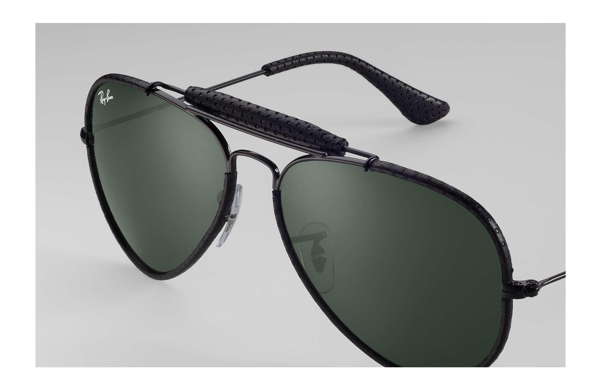 e1a28133e Ray-Ban Outdoorsman Craft RB3422Q Black - Metal - Green Lenses ...