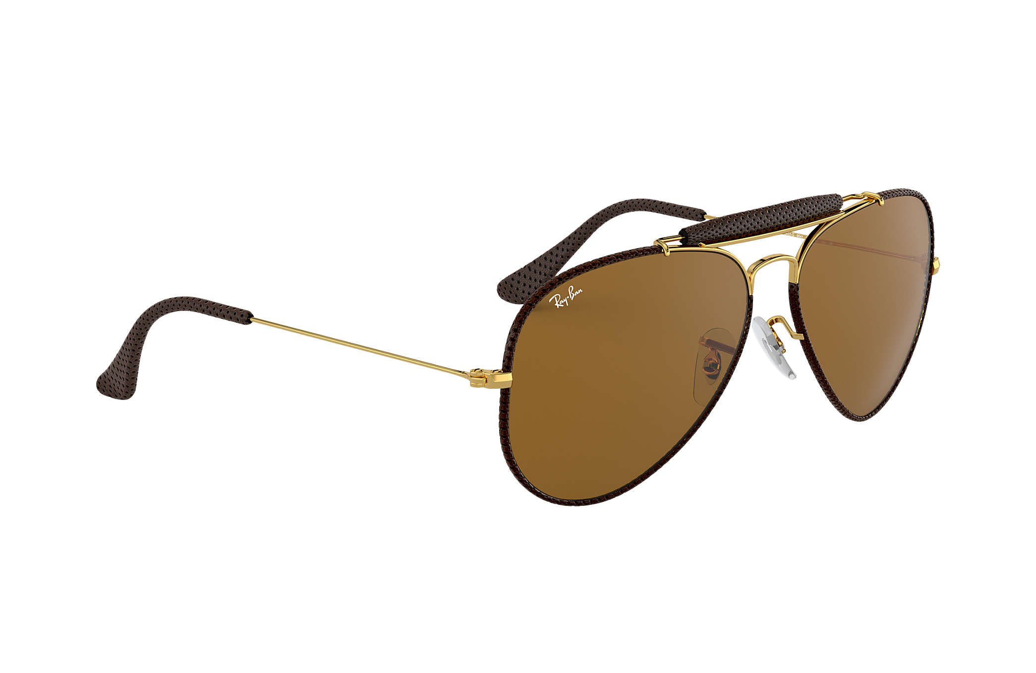 ray ban aviator leather sunglasses