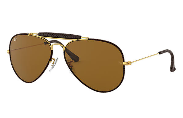 Ray-Ban 0RB3422Q-OUTDOORSMAN CRAFT Marrone; Oro SUN