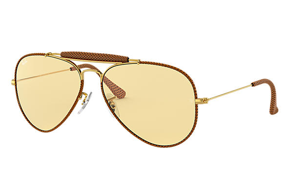 Ray-Ban 0RB3422Q-OUTDOORSMAN CRAFT Brown; Gold SUN