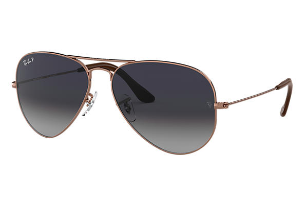 Ray-Ban Aviator @Collection Bronze-cuivre avec verres Blue/Grey Dégradé