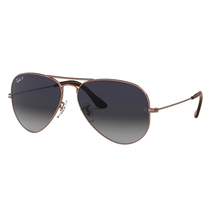 Ray Ban Aviator @Collection Copper Sunglasses, Polarized Blue Lenses Rb3025