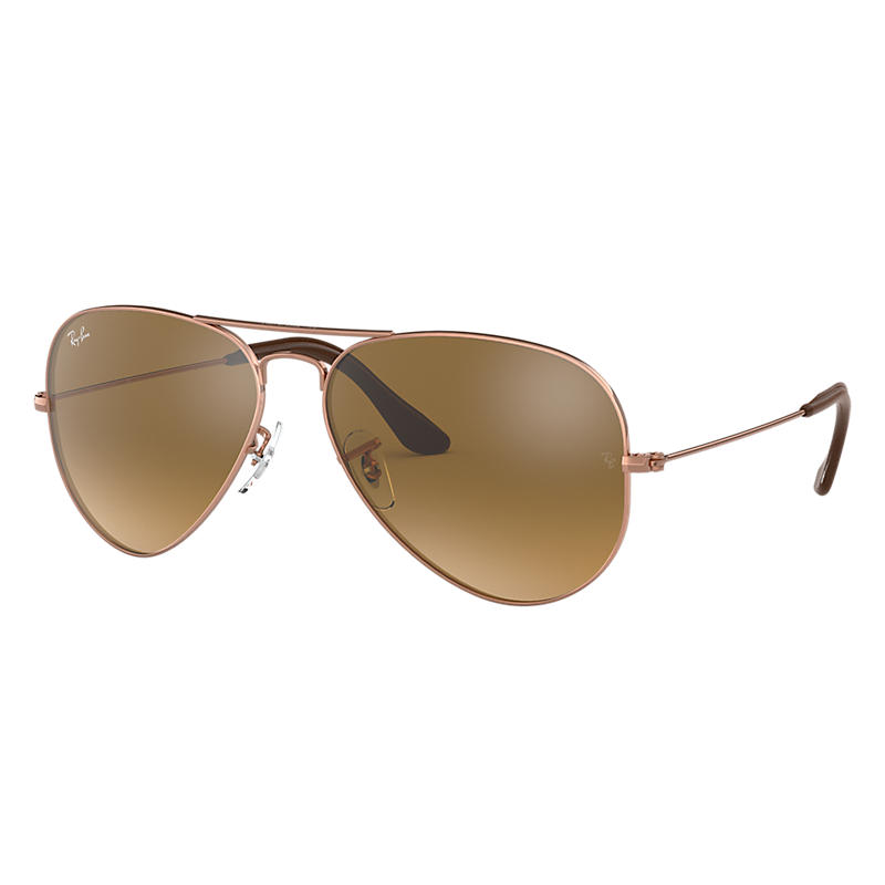 Ray Ban Aviator @Collection Copper Sunglasses, Brown Lenses Rb3025