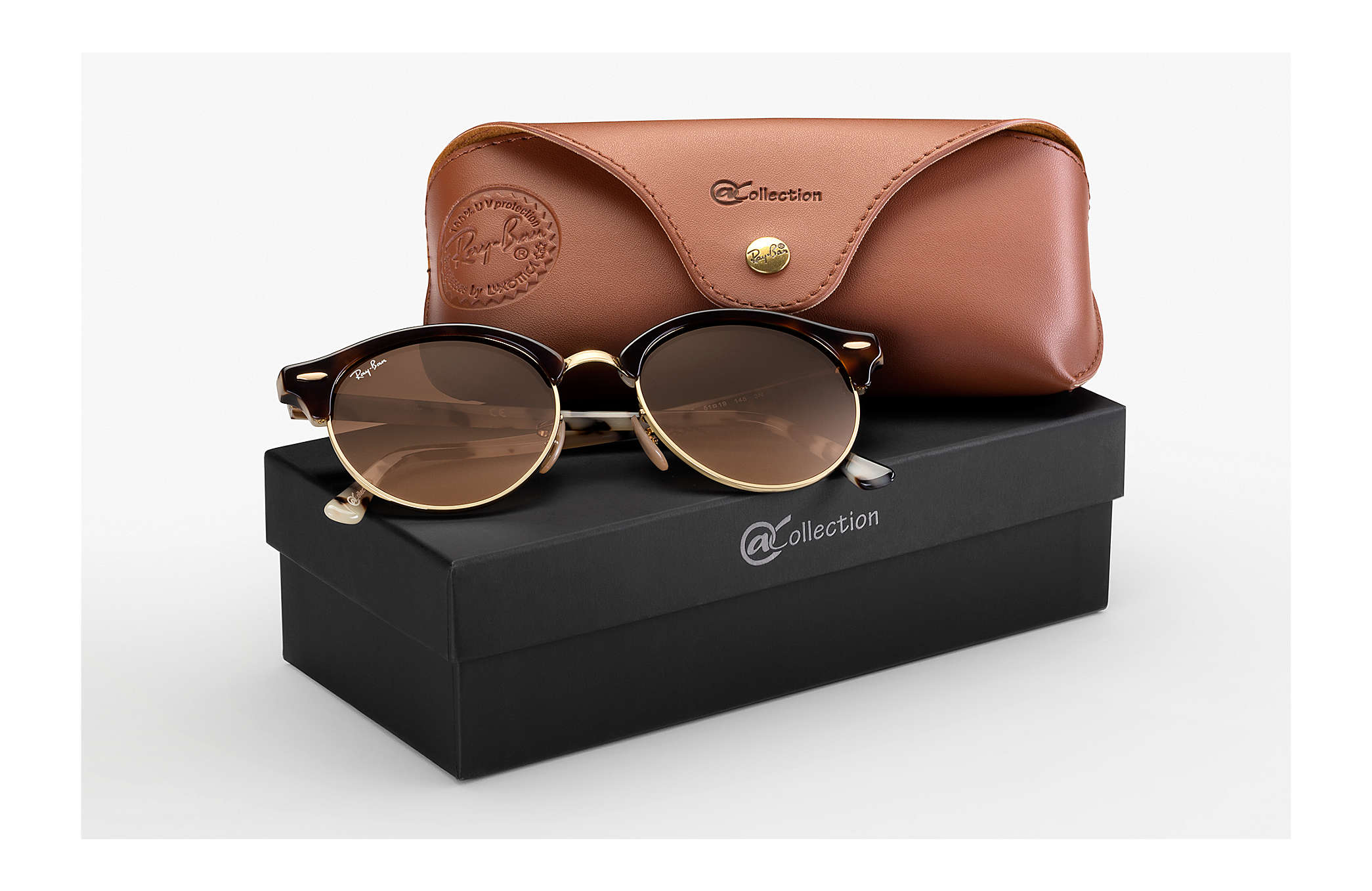7628bcf2d9 Ray-Ban Clubround @collection RB4246 Habana - Acetato - Lentes Pink ...