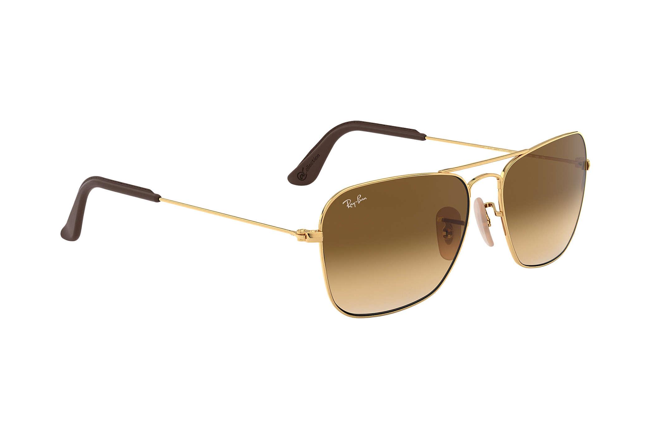 a23d575e72cf3d Ray-Ban Caravan  collection RB3136 Gold - Metal - Light Brown Lenses ...