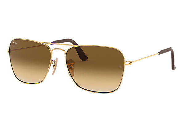 ca24e8dd14 Ray-Ban Caravan  collection RB3136 Gold - Metal - Light Brown Lenses ...
