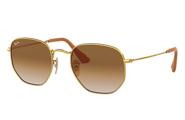 Ray-Ban Occhiali-da-sole HEXAGONAL @Collection Oro lucido con lente Marrone Chiaro Sfumata