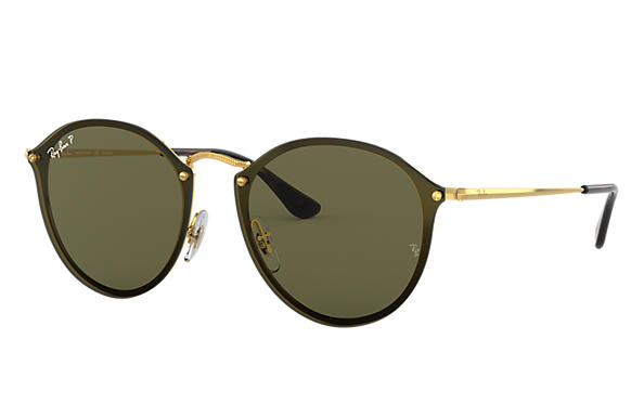 Ray-Ban Sunglasses BLAZE ROUND Gold with Green Classic G-15 lens
