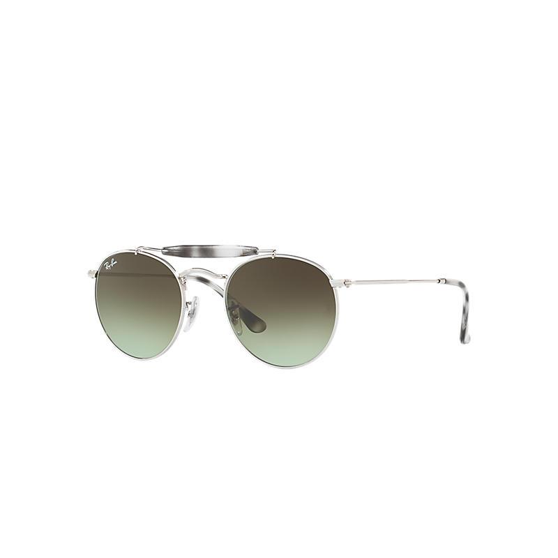 Ray-Ban Silver Sunglasses, Green Lenses - Rb3747