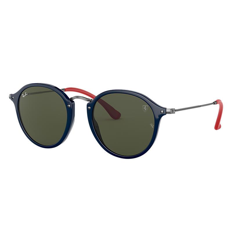 Ray-Ban Scuderia Ferrari Collection Gunmetal Sunglasses, Green Lenses - Rb2447nm
