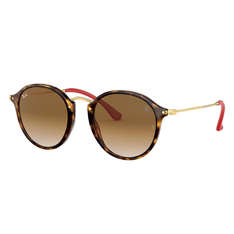 Ray-Ban Scuderia Ferrari Collection Gold Sunglasses, Brown Lenses - Rb2447nm