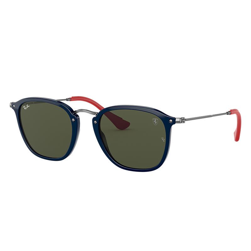 Ray-Ban Scuderia Ferrari Collection Gunmetal Sunglasses, Green Lenses - Rb2448nm