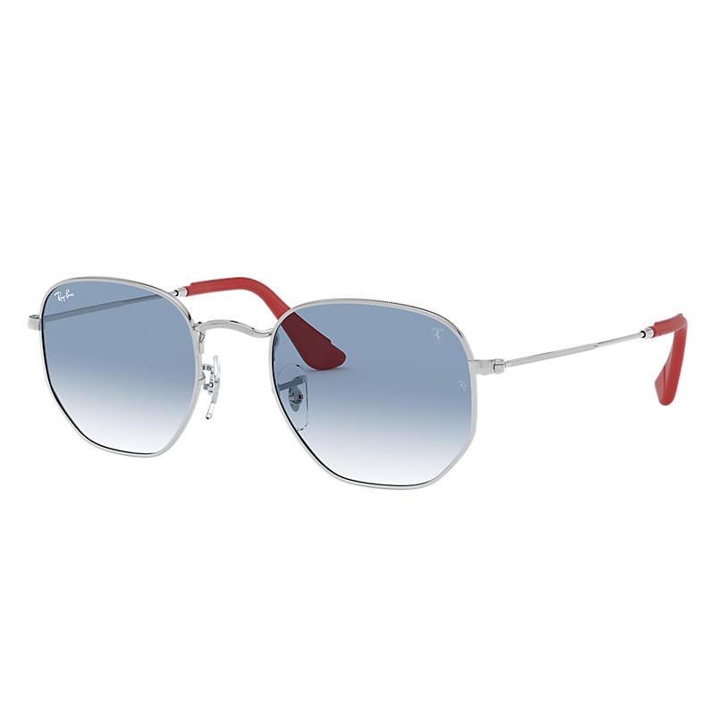 Ray-Ban Scuderia Ferrari Collection Silver Sunglasses, Blue Lenses - Rb3548nm