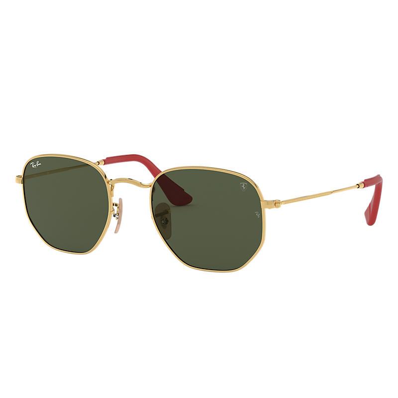Ray-Ban Scuderia Ferrari Collection Gold Sunglasses, Green Lenses - Rb3548nm