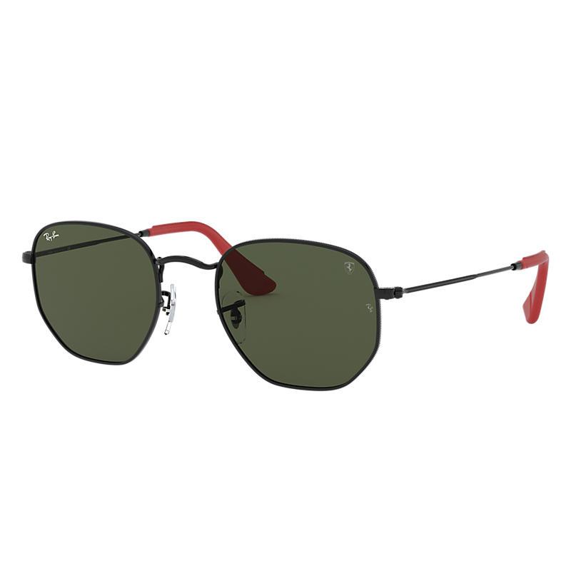 Ray-Ban Scuderia Ferrari Collection Black Sunglasses, Green Lenses - Rb3548nm