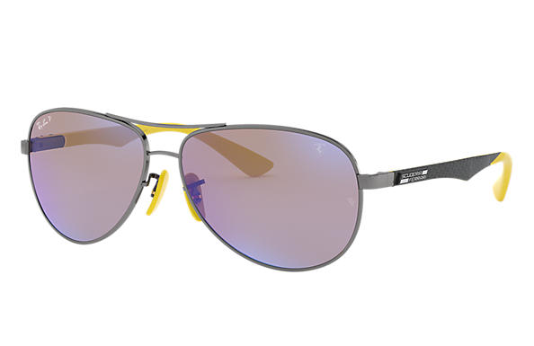 Ray-Ban RB8313M SCUDERIA FERRARI COLLECTION Gunmetal mit Blau Mirror Chromance Gläsern