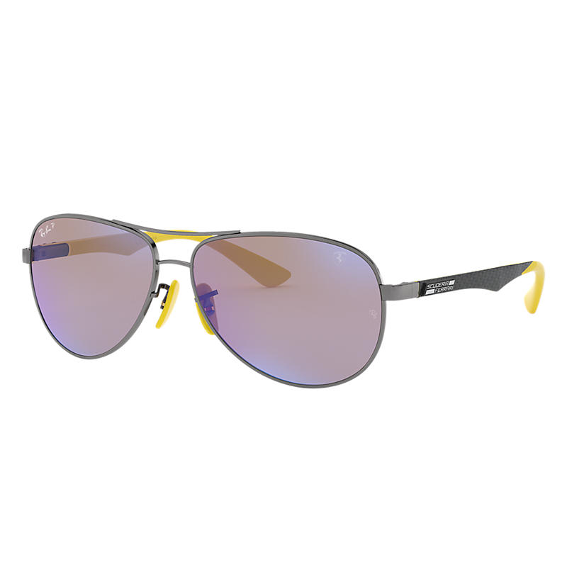 Ray-Ban Scuderia Ferrari Collection Black Sunglasses, Polarized Blue Lenses - Rb8313m