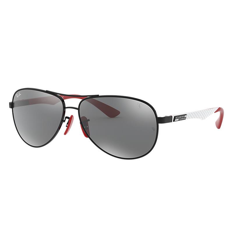 Ray-Ban Scuderia Ferrari Collection Black Sunglasses, Gray Lenses - Rb8313m