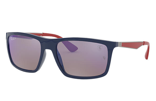 Ray-Ban RB4228M SCUDERIA FERRARI COLLECTION Blau mit Blau Mirror Chromance Gläsern