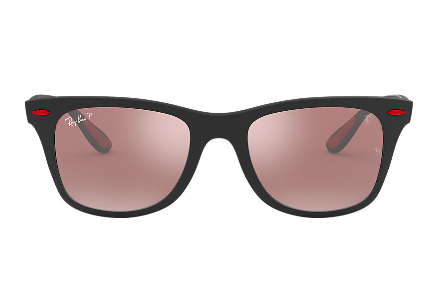 Ray-Ban Sunglasses RB4195M SCUDERIA FERRARI COLLECTION Black with Silver Mirror Chromance lens