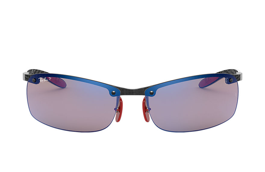 Ray-Ban RB8305M SCUDERIA FERRARI COLLECTION Schwarz mit Blau Mirror Chromance Gläsern