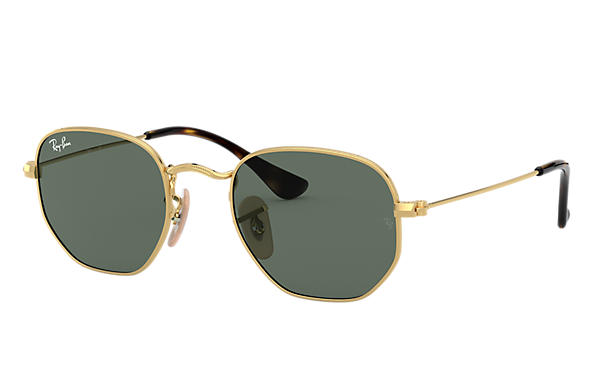 Ray-Ban HEXAGONAL JUNIOR Gold with Green Classic lens