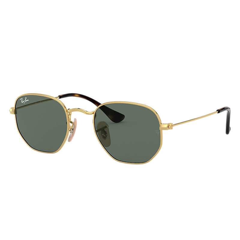 Ray-Ban Junior Hexagonal Junior Gold Sunglasses, Green
