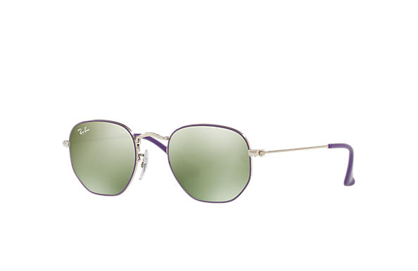Ray-Ban Sunglasses HEXAGONAL JUNIOR Violet with Dark Green/Silver Mirror lens