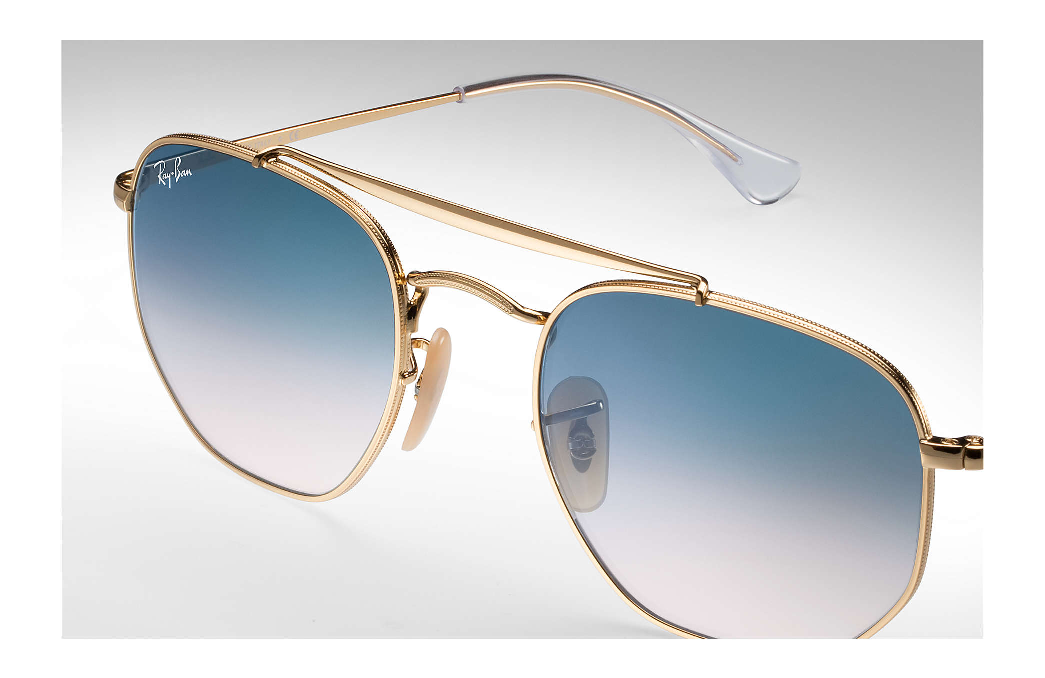 4cfe9d56a2 Ray-Ban Marshal RB3648 Gold - Metal - Light Blue Lenses - 0RB3648001 ...