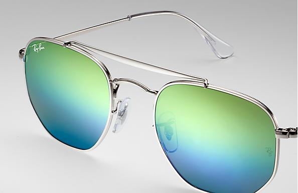 dbe8cc395788d Ray-Ban Marshal RB3648 Silver - Metal - Blue Lenses - 0RB3648003 ...