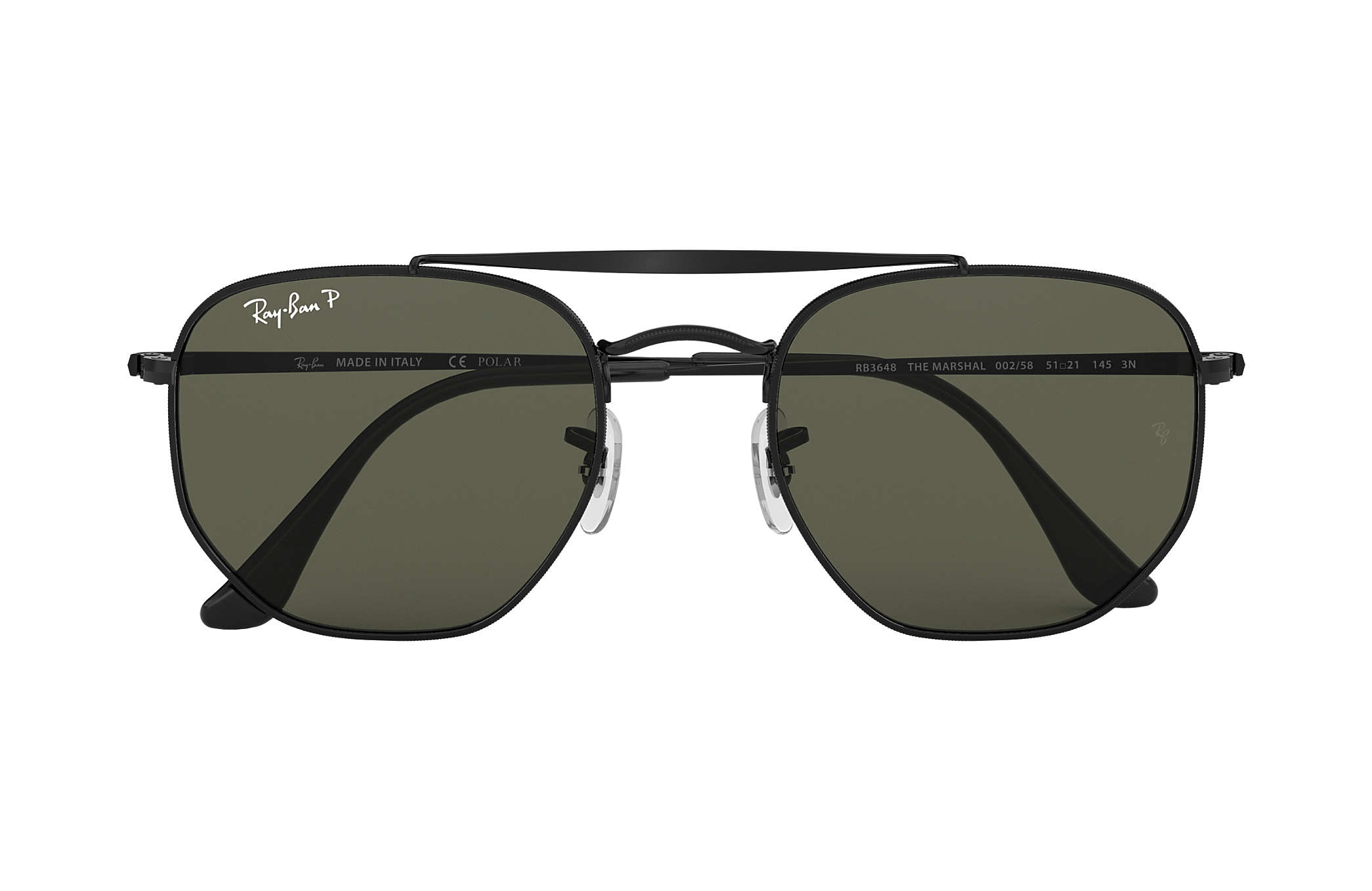 08207b9b18b Ray-Ban Marshal RB3648 Black - Metal - Green Polarized Lenses ...