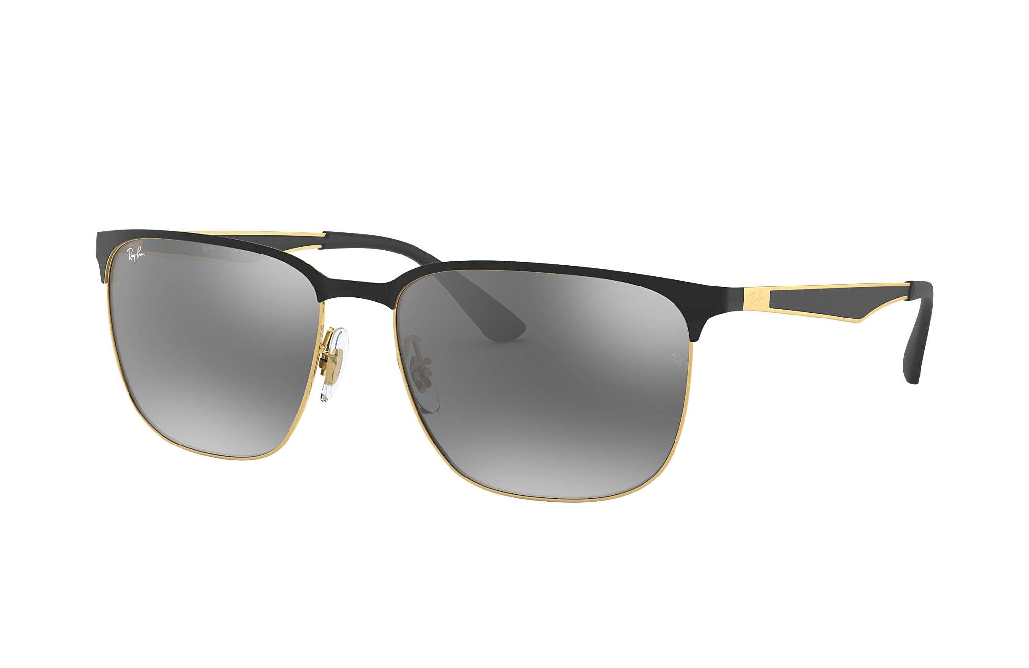 Metal Half Rim Square Sunglasses in Gold Black Silver Mirror RB3569 187/88 59 Ray-Ban gyDzTDA
