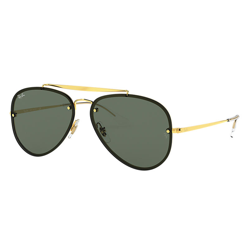 Ray-Ban Blaze Aviator Gold Sunglasses, Green Lenses
