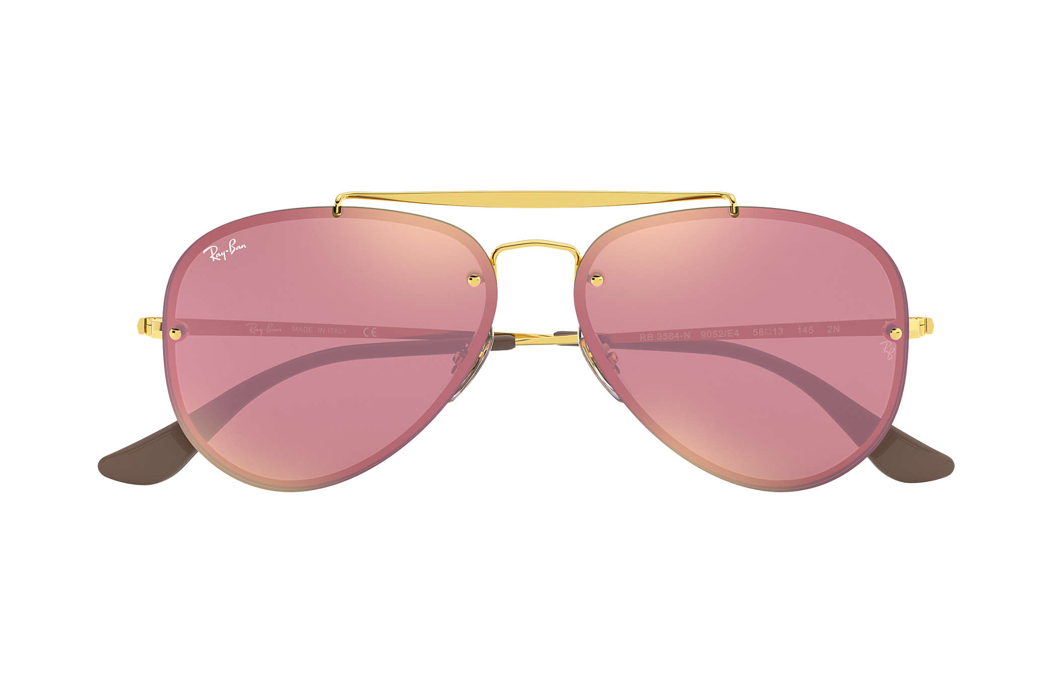 4f707ddf90c3b Ray-Ban Blaze Aviator RB3584N Gold - Steel - Pink Lenses ...