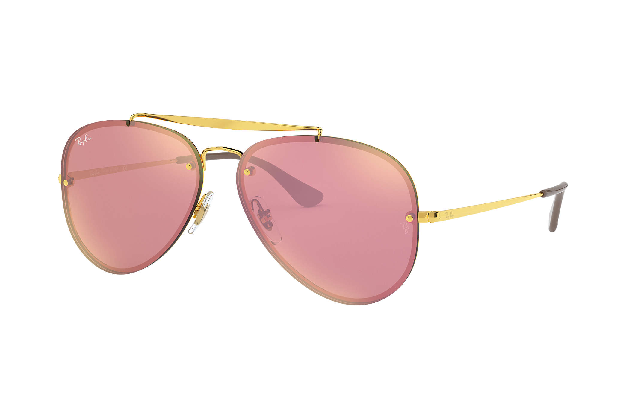 Blaze Aviator Sunglasses in Gold Pink Mirror RB3584N 9052E4 61 Ray-Ban 4BCRtA